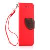 Красный Дизайн Кожа PU откидная крышка бумажника карты держатель чехол для Apple iPhone 4G/4S черный дизайн кожа pu откидная крышка бумажника карты держатель чехол для apple iphone 4g 4s
