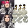Human Virgin Hair Ombre Brazilian Body Wave 5 Bundles for Black Women Sew In Weft 8A Top Grade 1B Grey Hair Weave Extension Full long straight full lace human hair wigs for black women brazilian hair on sale