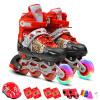Доспехи воина флеш-колеса установлены коньки детские мужские и женские шкивы обувные регулируемые роликовые коньки коньки KJ-335 M красный