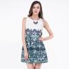 TMI день тайны весна женщин высокой талии вокруг шеи рукавов печатного платье с зелеными цветами 161 230 M