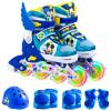 Дисней (Disney) полный костюм детей коньки роликовые ботинки для мужчин и женщин с полной флэш-регулируемые роликовые коньки роликовые коньки обувь 11009 Ослепительный синий Микки (восемь, включая защитные шлемы передач + аксессуары) M код аксессуары для детей