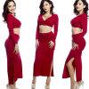Мода нового прибытия женщин с длинными рукавами Глубокий V шеи платье Sexy Hip пакета платье Установить два куска Сплит платья женская одежда нового прибытия с длинными рукавами 2017