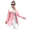 Женщины моды вниз куртки Сладкие Pure Color вниз куртка Тонкий сгущает с длинными рукавами вниз куртка женщин пальто Контрактная К