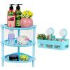 Зеленые тростниковые стеллажи для ванной комнаты для хранения трехэтажных стоек для хранения косметики для стирки 2 комплекта синих