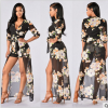2016 New Fashion Long Sleeve Sexy V neck irregular Hem Woman Black floral Print Long Maxi Beach Dresses