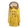 КТ&ХФ зимних женщин шерстяное длинное пальто с Hat женщин-теплая Верхняя одежда с поясом одежда для женщин