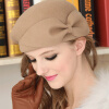 WISHCLUB 2017 шерсти моды гороховый шляпа французский цветок фетровую шляпу зимнюю шапку