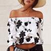 Женская мода с плеча напечатаны топы блузки