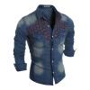 Мужчины Длинные рукава рубашки Отверстия Denim мужские длинные рукава рубашки хлопка