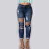 Мода Повседневная Женщины Vintage высокой талией Тощий джинсы Тонкий Разорванные брюки карандаш джинсы Hole женских брюк lovaru ™ джинсы женщина мода высокой талией разорвал узкие джинсы с дырками длинные брюки джинсовые карандаш джинсы femme