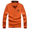 Jeep Щит мужской случайный с длинными рукавами рубашки поло футболки отворот сплошной цвет рубашки поло D9288 оранжевый 3XL