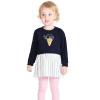 Barabara (BALABALA) для малышей новорожденных девочек костюм дети с длинными рукавами платья из двух частей 28041170107 110 черные вязаные платья для новорожденных девочек