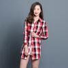 KuoyiHouse 7006 рубашка 2017 весна новый клетчатый рубашка женский длинный рукав свободный искусство длинный хлопок рубашка красный XL