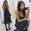 цена Ах Sin Корейского свободного ремень цветочного шифона платье длинный участок был тонкие воланы сарафаны без рукавов zx17283 синего XXL онлайн в 2017 году