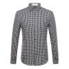 Астон мужской моды простой случайный хлопок решетка с длинными рукавами рубашки темно-синий 180 / XL A14316171 лонгслив мужской asics ls 1 2 zip jersey цвет темно синий 154589 1273 размер xl 50