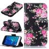 все цены на Черные цветы Дизайн PU кожаный чехол флип кошелек карты держатель чехол для SAMSUNG Galaxy J1 2016/J120F онлайн