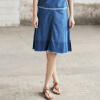И чистая (Rain.cun) джинсовая юбка с высокой талией ковбойская юбка дикое слово половина юбки юбки колледжа юбка ветра M код N5031 синий