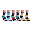 6 Pairs Mens Striped Multi Color Casual Fashion Crew Designed Style Casual Cotton Socks 550003