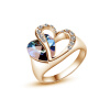 Yoursfs® alliance Gold 585 Blue Heart Stone Promise Ring Rose Gold Plated Created Sapphire Turkish Jewelry Wedding Engagement Ring only a promise