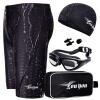 Вы плаваете сундуки мужские костюмы всемогущие плавать брюки большие бокс очки плавательные шапки пять комплектов костюмов Z25255 черный 4XL код