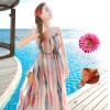 Итальянская одежда широк (KuoyiHouse) 7887 2017 лета нового без бретелек платья печати строп пляжа платья богемного приморского курорт шифонового платья цветой полоса Размер