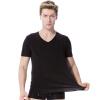 Супермаркет] [Jingdong модальных V-образный вырез жилета мужских с коротким рукавом футболка модальной дышащей упругой самостоятельный черный L цена