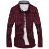 GEEDO мужская  рубашка  клетчатая повседневная  рубашка южнокорейский  стиль