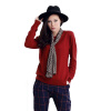 MAZOE простой многоцветный короткий параграф круглый шею воротник трикотажный нижний свитер M3028 ржавчина красный S