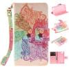 Красочные цветы Дизайн PU кожа флип кошелек карты держатель чехол для SONY Xperia Z3 Compact/Z3 mini цена
