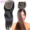 QDKZJ Свободная перевозка груза бразильская девственница 100% человеческих волос закрывает прямую застежку кружева Верхняя часть 4 * 4 средняя часть 3 пути Отбеленные узлы