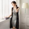 VIVAHEART Корейский случайные моды вертикальный полосатый свитер и длинные участки шаль кардиган женский VWYC172449 черный M