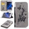Серая бабочка с тиснением Классическая флип-обложка с функцией подставки и слотом для кредитных карт для Samsung Galaxy S7 edge