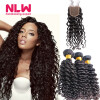 Real Human Brazilian Virgin Deep Wave Curly Hair Extension With Closure Cheap 8A Unprocessed 3 Bundles Weft Bohemian Weave Hair aliexpress hair european virgin hair straight european hair bundles unprocessed virgin european cheap human hair extension sell