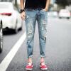 lucassa джинсы мужские дырки случайные брюки брюки талия джинсы мужчины A089-302 светло-голубой 32