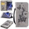 Серая бабочка с тиснением Классическая флип-обложка с функцией подставки и слотом для кредитных карт для Samsung Galaxy S7