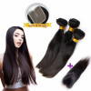 Natural Black Color 3 Weave Hair Bundles With Lace Closure Straight Peruvian Human Virgin Hair Full Weft Extensions 1g s 100g human remy hair 8 light brown straight custom capsule keratin stick i tip fusion full human hair extensions
