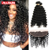 Full Frontal Lace Closure 13x4 With Bundles Deep Wave Peruvian Virgin Hair With Frontal Closure 100% Human Hair 7a Virgin Hair 13x4 brazilian deep wave lace frontal full lace deep wave lace frontal closure from ear to ear lace frontal with baby hair stock