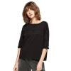 UR Женская круглая шея попала в цветную печать простой случайной футболки YL30R4EN002 глубокий черный M