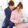 Арктический кашемир хлопок пижамы домашний сервис мужчин и женщин пары пижамы могут носить с длинными рукавами кардиган хлопок досуга домашний костюм костюм женский розовый точка L pepita костюм домашний женский