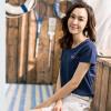 Инь Человек (ИНМАН) 2017 Нянь лето новый текст напечатан хлопка с коротким рукавом футболки женские футболки топы глубокий сапфировый синий S 1862022467 топы и футболки