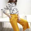 Ах Sin Корейских мод Тонкий темперамент был тонкой круглых рубашки шеи печатью пассива дикого элегантных широких брюки ноги костюма zx16050513 желтого S