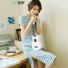 (INMAN) 2017 лето новое новое искусство с открытым вырезом с короткими рукавами полосатое платье женская юбка средней длины синее и белое M 1872102235