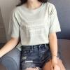 VIVAHEART корейский Тонкий шею с коротким рукавом футболки рубашки дна рубашки письма напечатаны рубашки VWTD173133 светло-зеленый S