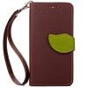 Коричневый Дизайн Кожа PU откидная крышка бумажника карты держатель чехол для Apple iPhone 6 цветочный дизайн кожа pu откидная крышка бумажника карты держатель чехол для iphone 7g