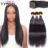 Бразильские прямые волосы Virgin с закрытием 8A Необработанные бразильские волосы Virgin с закрытием 3 комплектов с закрытием Самые дешевые самые дешевые орхидеи в москве