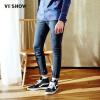 Wei Xiu (viishow) джинсы мужские прямые модные джинсы молодежь Европа и Соединенные Штаты простые джинсы мужской NC13781711 серый синий L джинсы