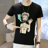 lucassa короткими рукавами футболки мужские шею футболки мультфильма печатных короткими рукавами футболки мужчин 98077 черный XXL