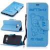 Светло-синий медведь Стиль Тиснение Классический откидная крышка с подставкой Функция и слот кредитной карты для SAMSUNG Galaxy S8