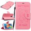 Розовый Медведь Стиль Тиснение Классический откидная крышка с подставкой Функция и слот кредитной карты для SAMSUNG Galaxy S5