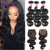 Фото 7A Brazilian Virgin Hair With Closure 3 Bundles Hair With Lace Closure Human Hair Weave Bundle Brazilian Body Wave With Closure